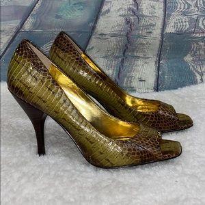 Bcbgirls leather snakeskin open toe heels Ariel2 7